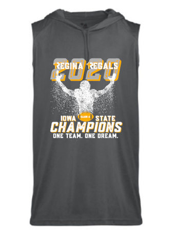 2020 Regina State Football Champs Badger - Youth B-Core Sleeveless Hooded T-Shirt