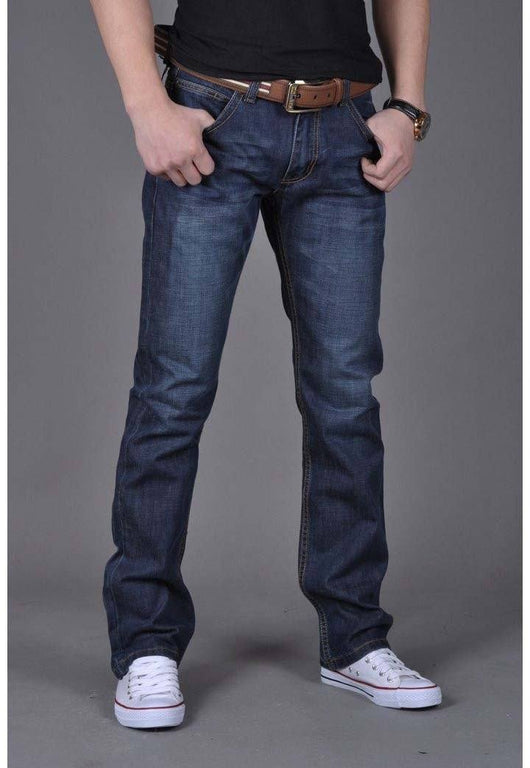 Men's denim jeans  straight pants jeans men in dark blue - The Consumers Marketplace