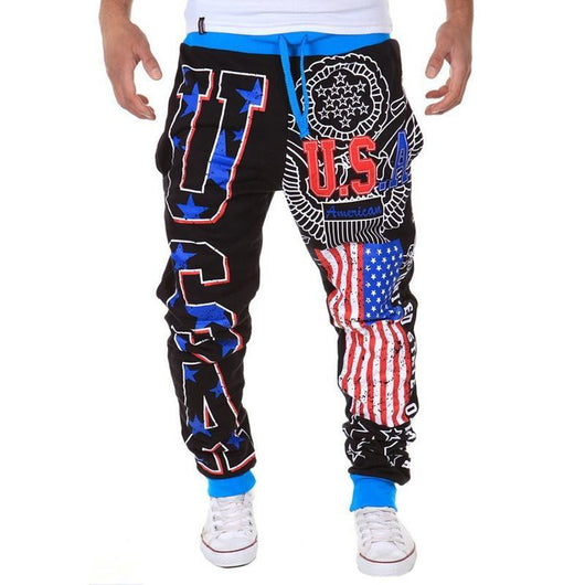 New Arrival Casual Men's leisure pants USA letters design Loose Mens Long pants - The Consumers Marketplace