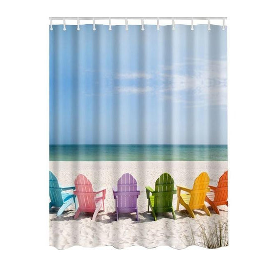 Seascape Sea Beach Picture Bathroom Shower Curtain with Hooks - The Consumers Marketplace