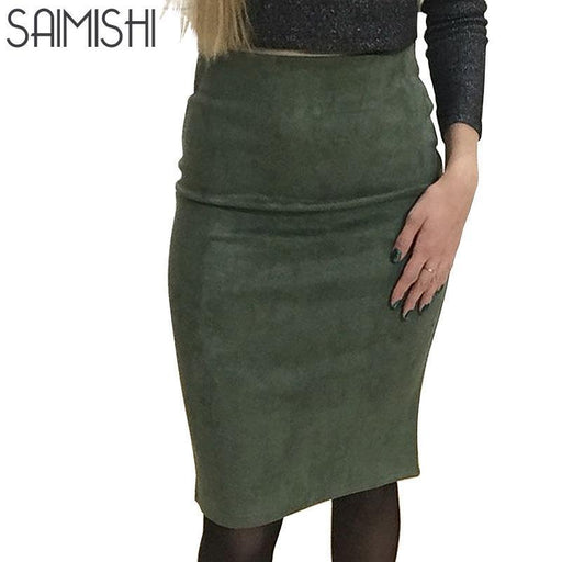 SAIMISHI Womens  Suede Knee Length Pencil Skirt Many Colors FREE SHIPPING!