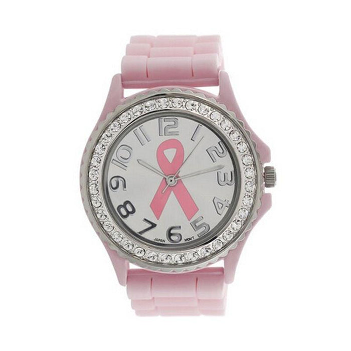 Women Girl Crystal Cancer Dial Quartz Analog Silicone Band Wrist Watch - The Consumers Marketplace