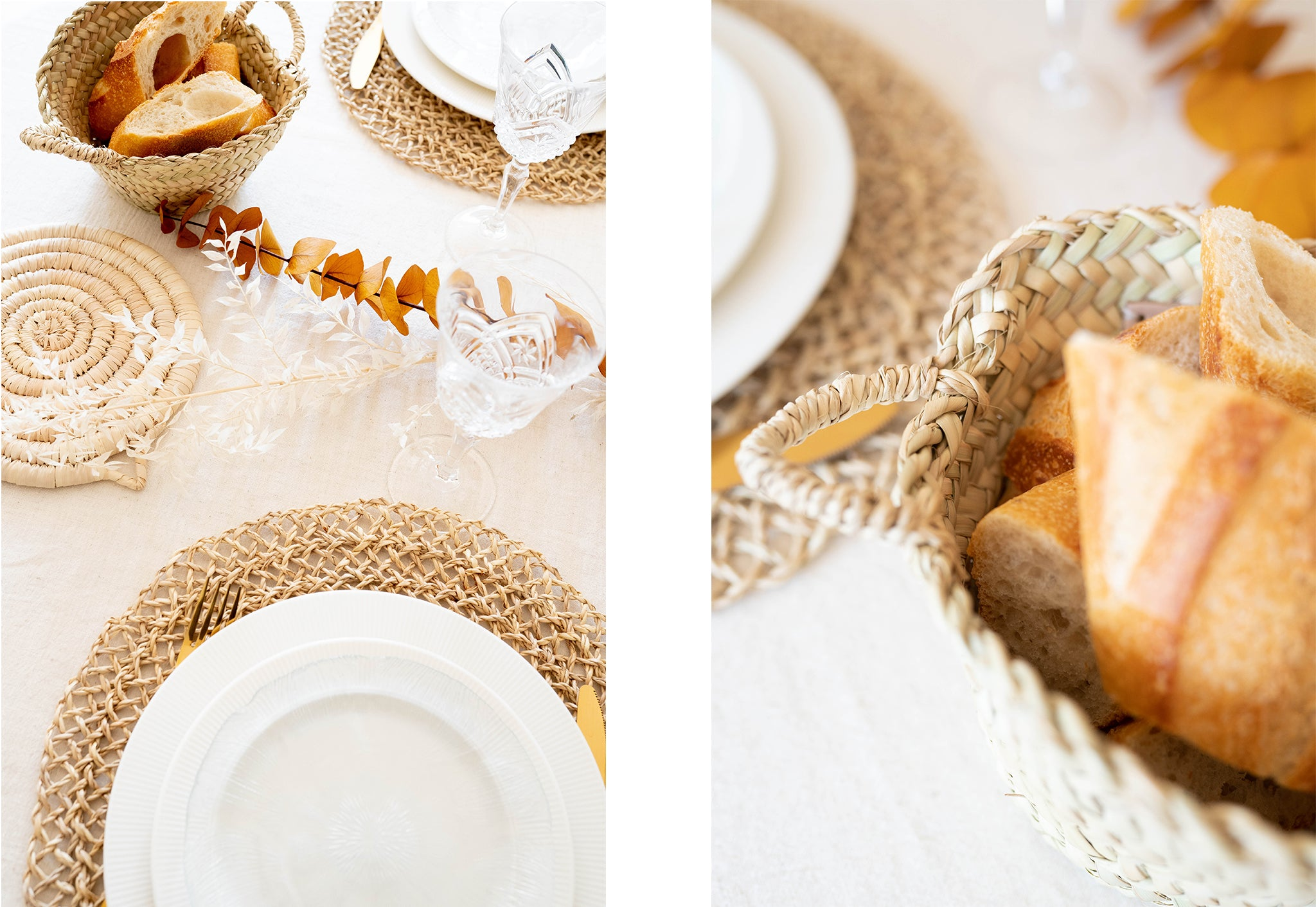 Straw accessories on a thanksgiving table presenting dish and bread