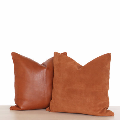 Tan leather pillow hand stitched