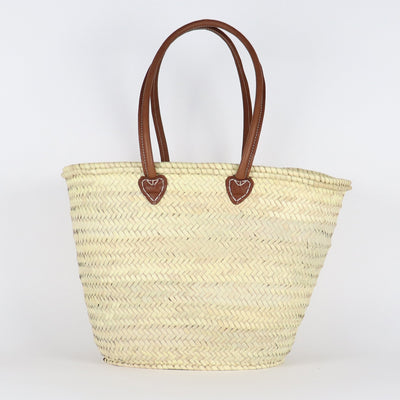 French Basket, Long Leather Handles Tan
