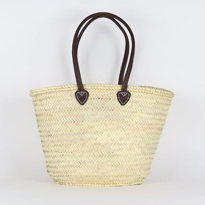 French Basket, Long Leather Handles Brown