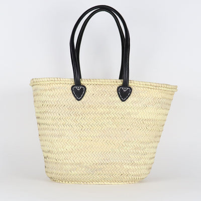 French Basket, Long Leather Handles Black