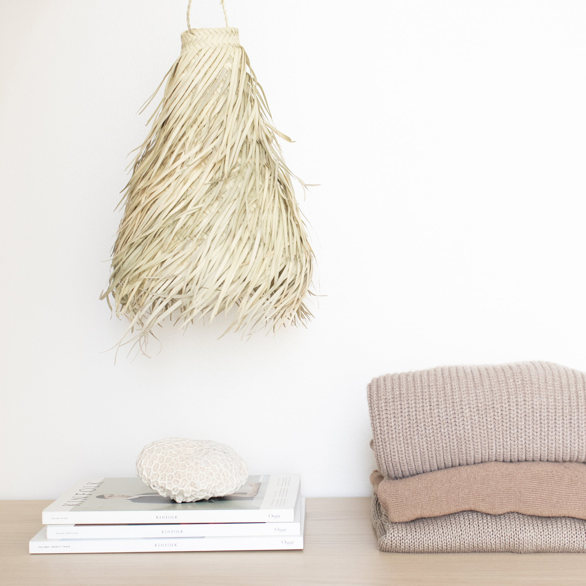 Fringed straw light pendant