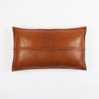 Tan leather pillow from behind with zip in the middle