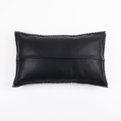 rectangle Black leather pillow from behind on a white background with zip in the middle