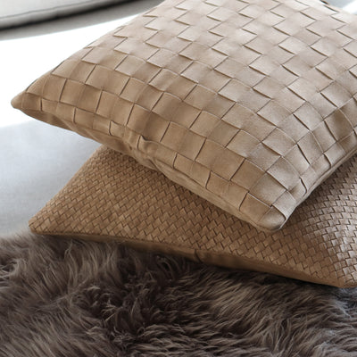 Handwoven suede leather pillow in natural color