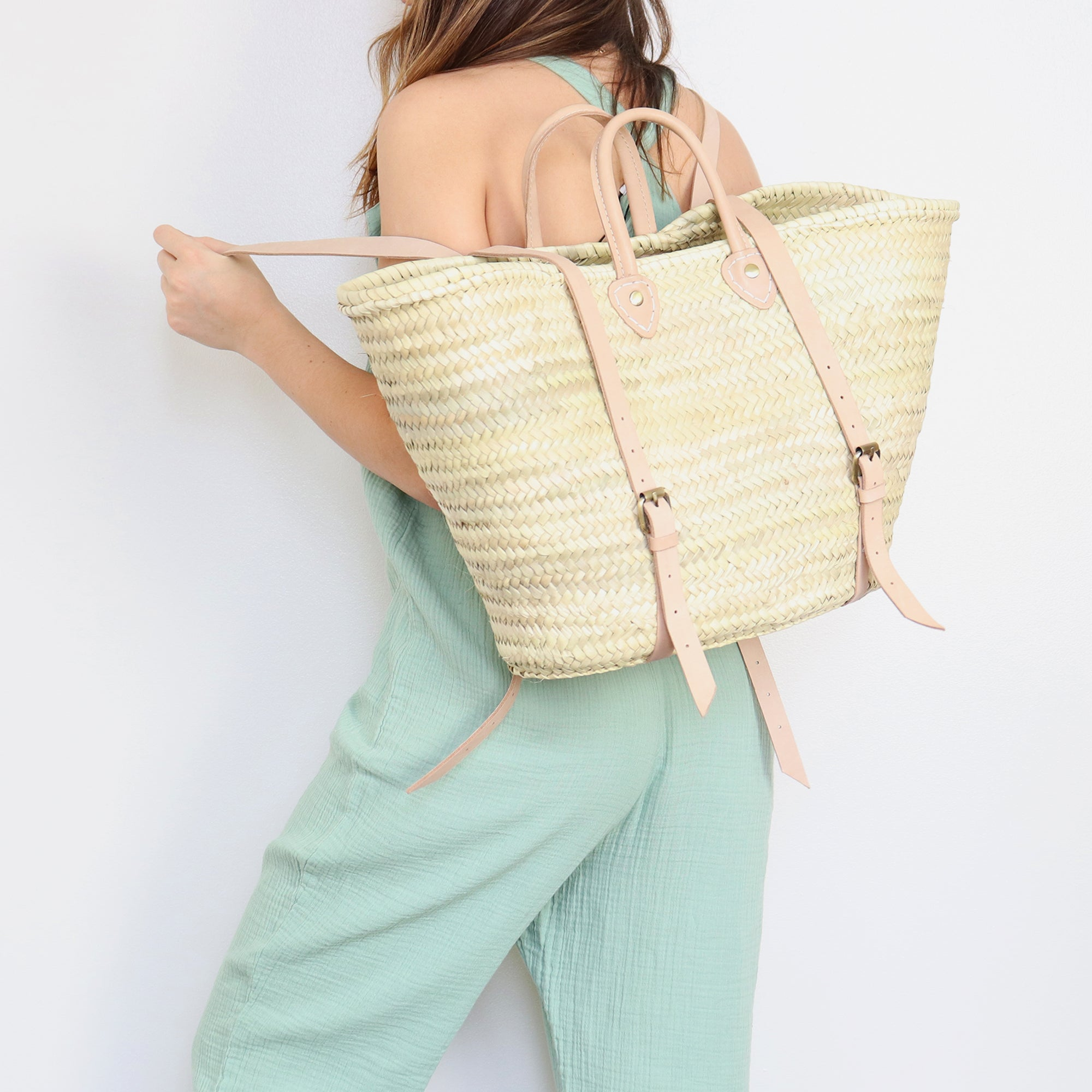 Straw basket backpack