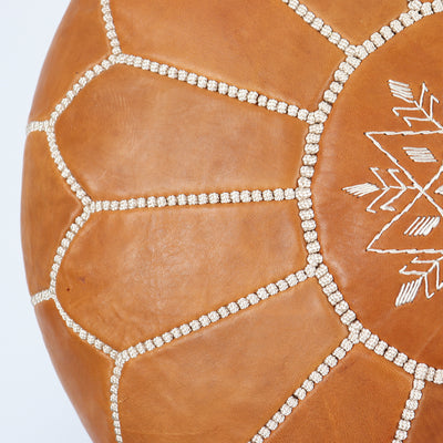 Embroidery Moroccan leather pouf