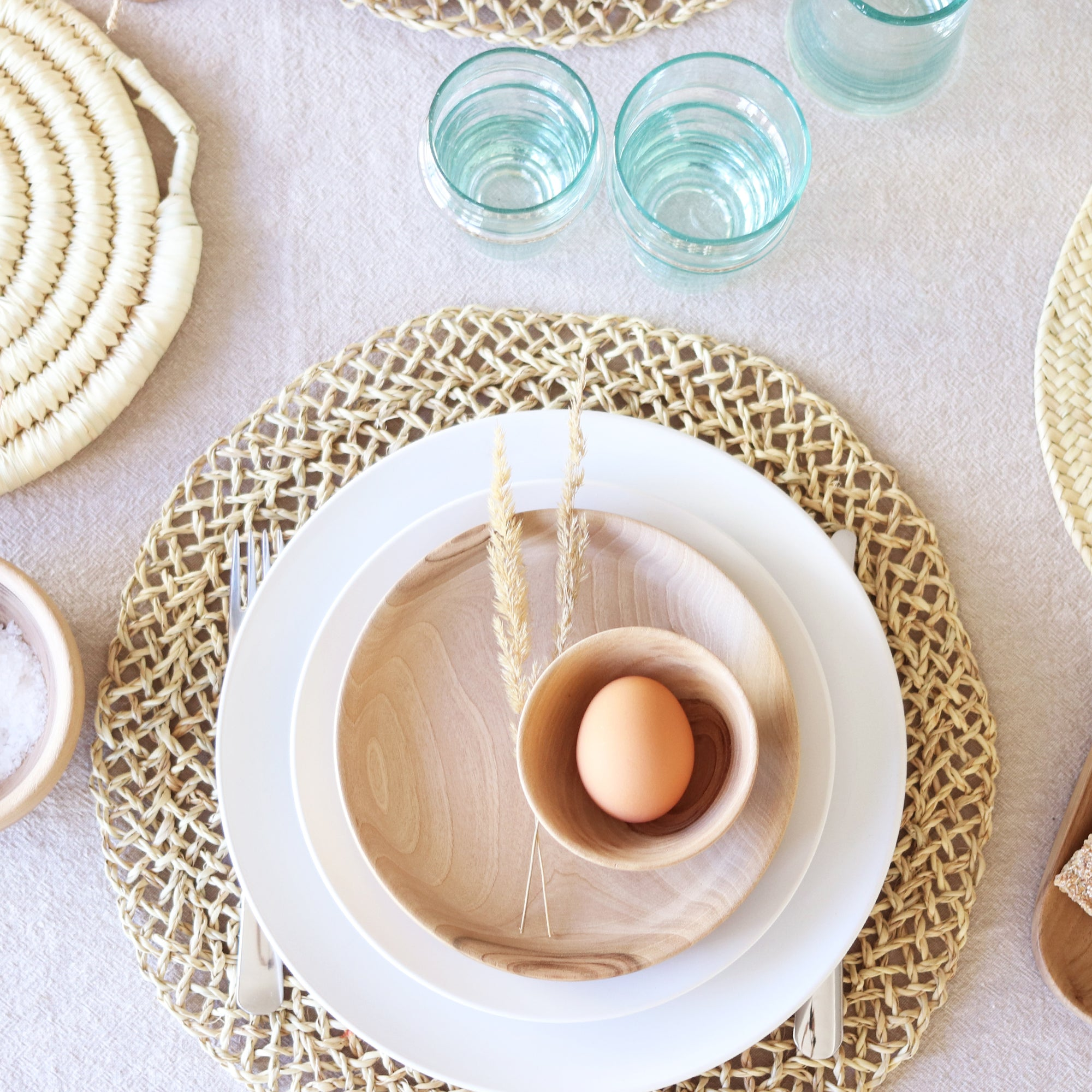 open weave straw placemat