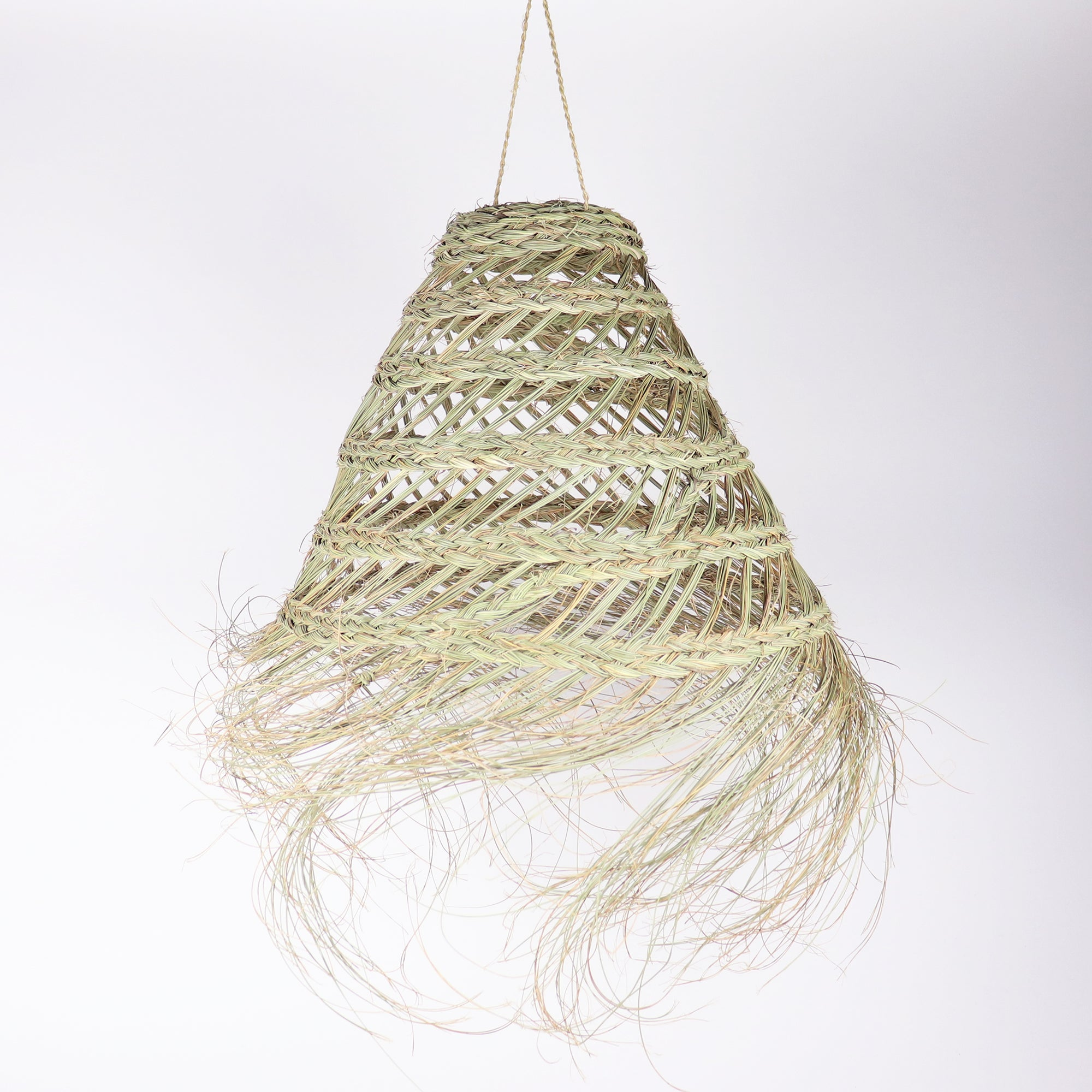 Open work straw light pendant