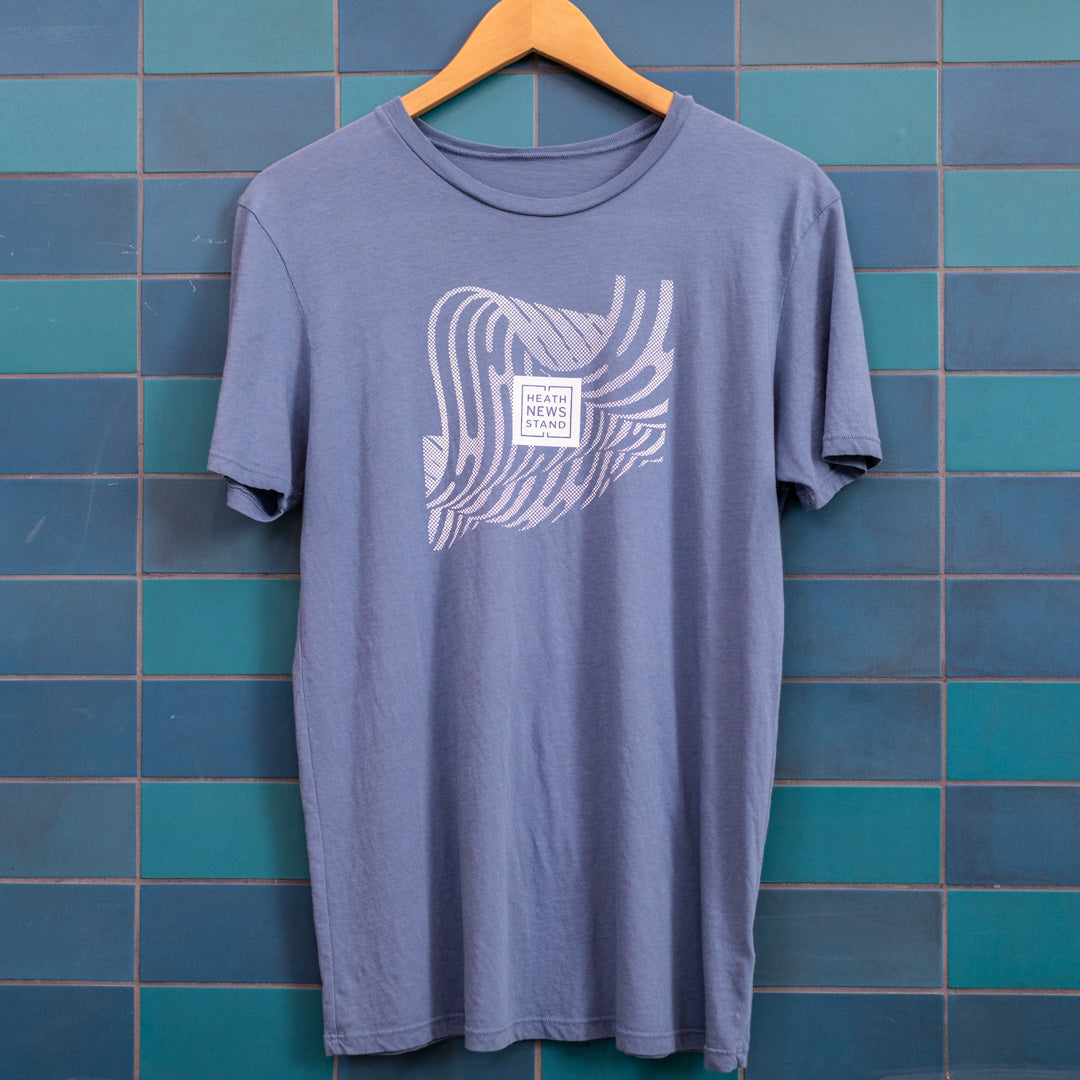 Heath Newsstand Logo T-Shirt (Blue Brendan Wave) - White Logo