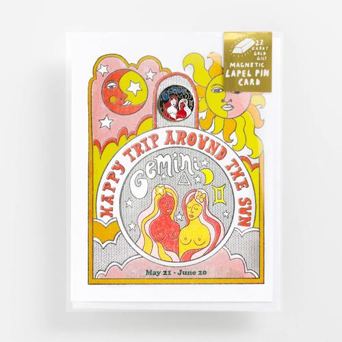 Yellow Owl - Zodiac Gemini Lapel Pin Card