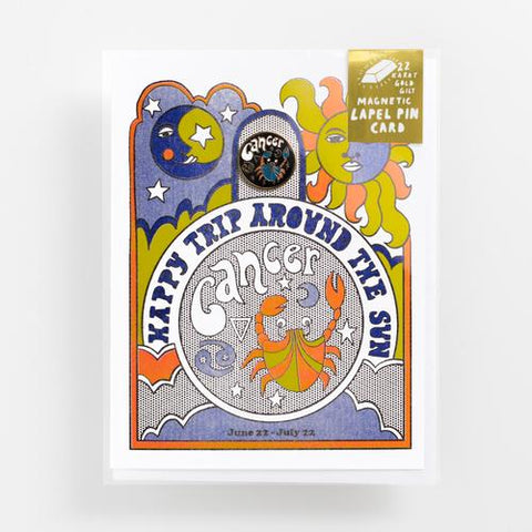 Yellow Owl - Cancer Lapel Pin Card