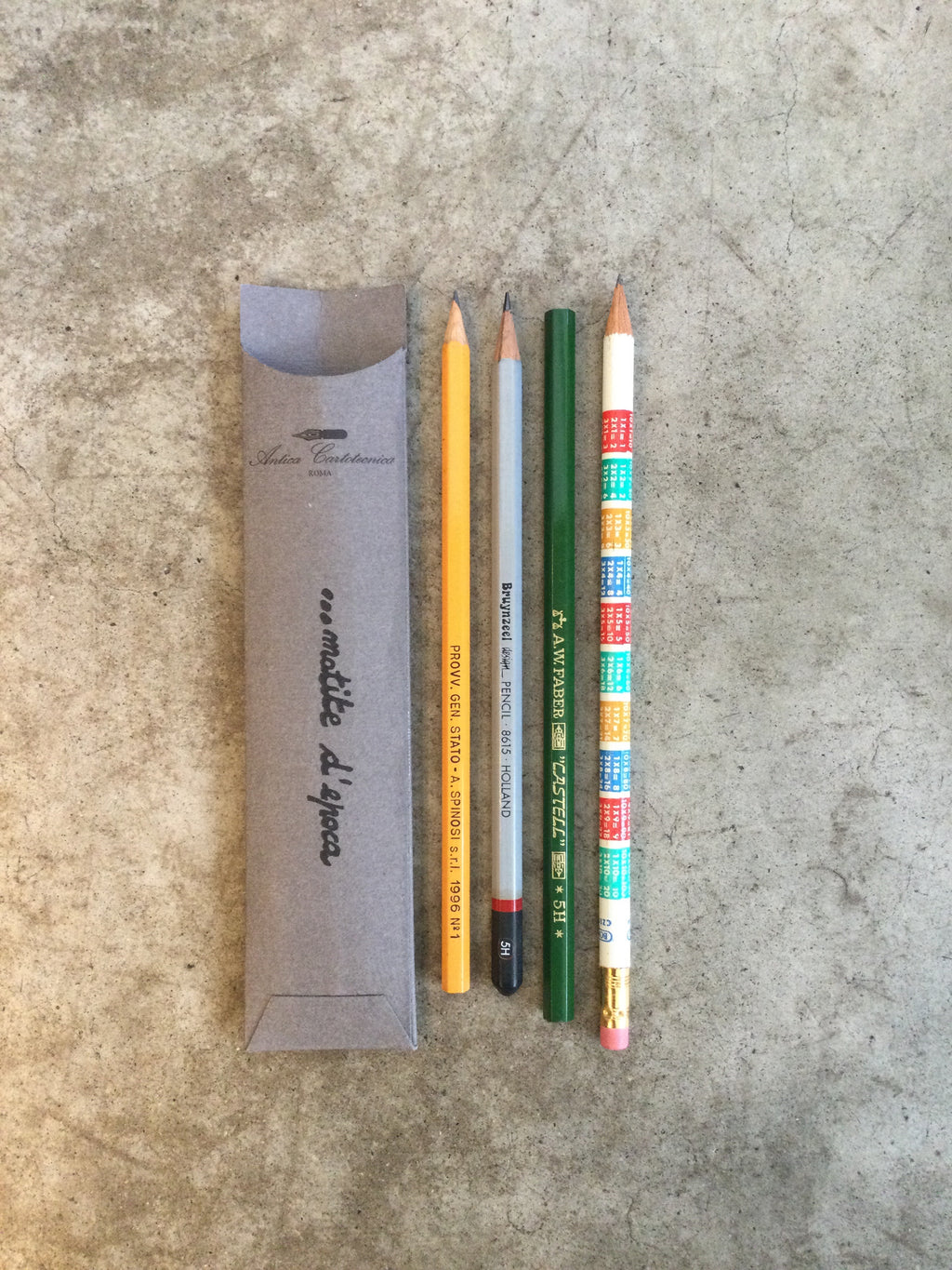 Set of 4 Vintage Pencils in Pockets