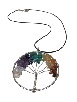 Energetically Charged Tree of Life Rainbow Chakra Necklace