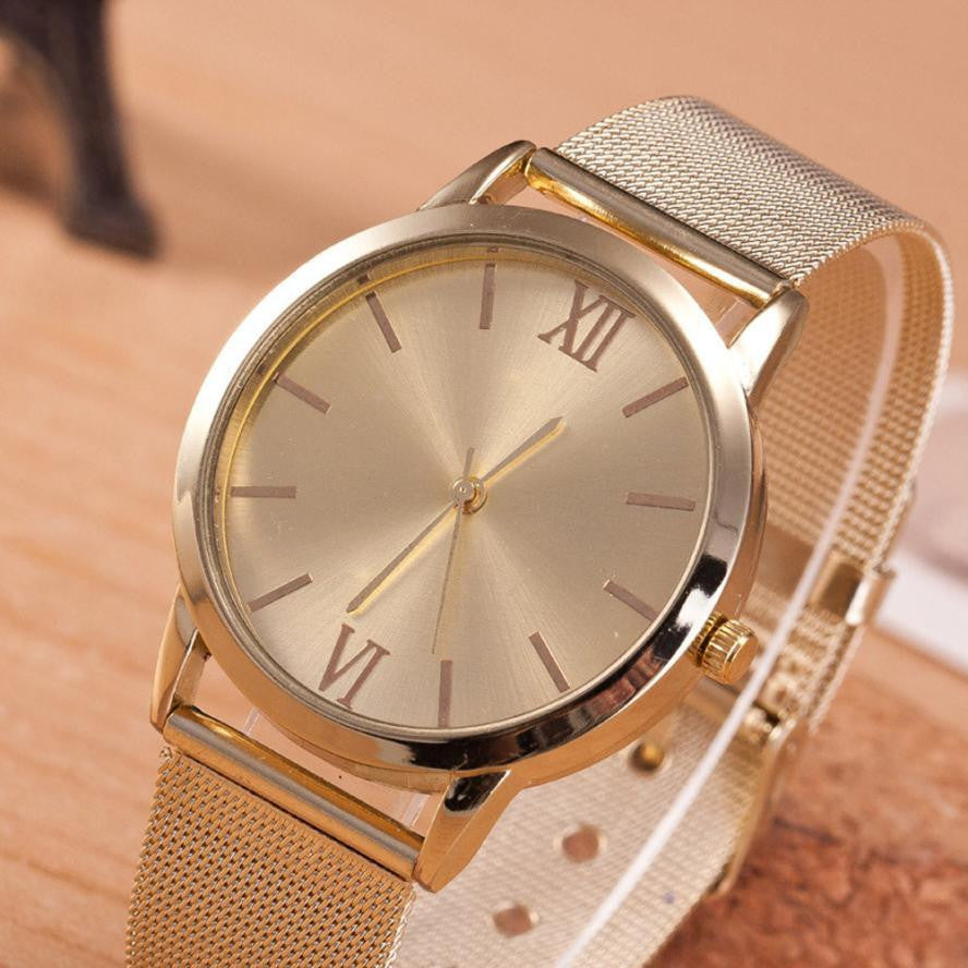 Women Ladies Gold Stainless Steel Mesh Band Wrist Watch