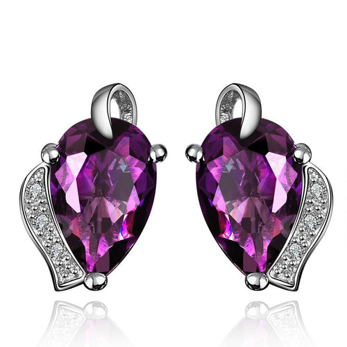 Purple Crystal Drop Earrings