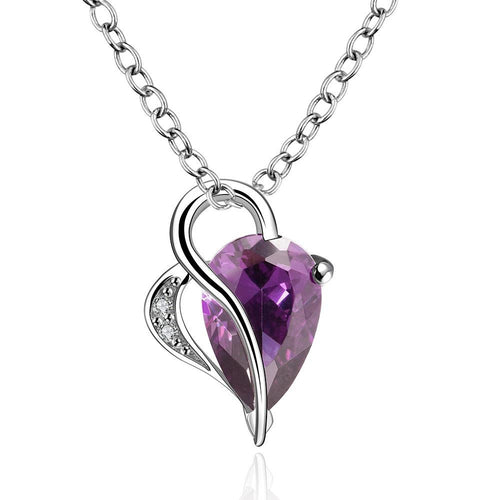 Purple Hearts Drop Necklace