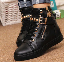 High-top zipper rivet shoes