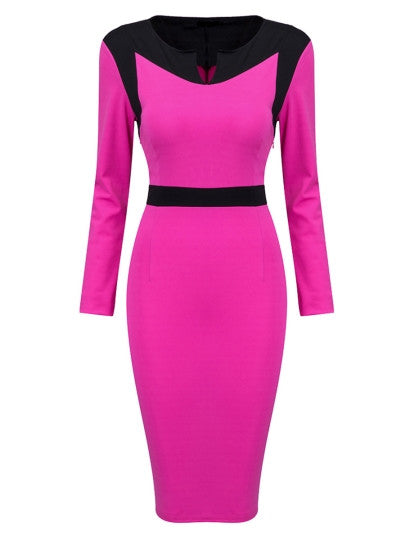 Knee-Length Long Sleeve Sheath Dress