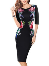 Flowers Print Half Sleeve Bodycon Dress