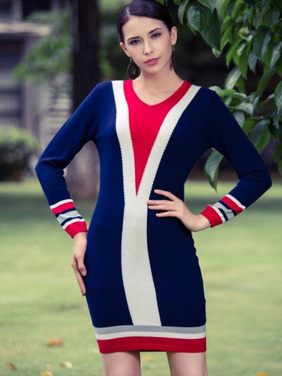 Dark Blue Striped Women's Sweater Dress