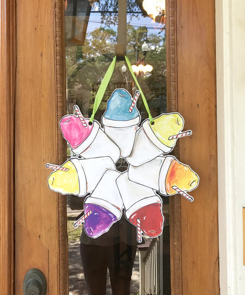 snoball door hanger. new orleans door wreath. snow cone door hanger. fun art. souther door decor. best shopping in new orleans.