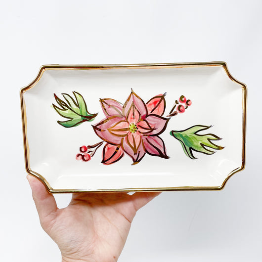 red poinsettia flower gold trimmed ceramic tray dish