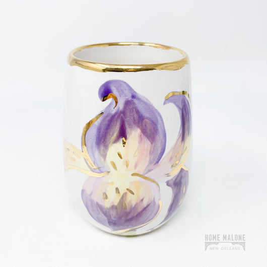 Handpainted Iris Wine Glass