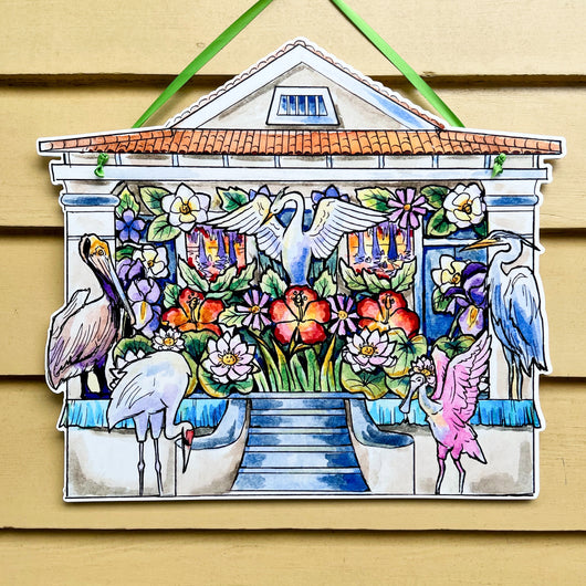 Bird House - Hire A Mardi Gras Artist Door Hanger