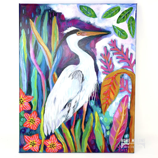 JE - Egret On 18x14 canvas