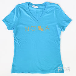 NOLA V-Neck Tee: Teal