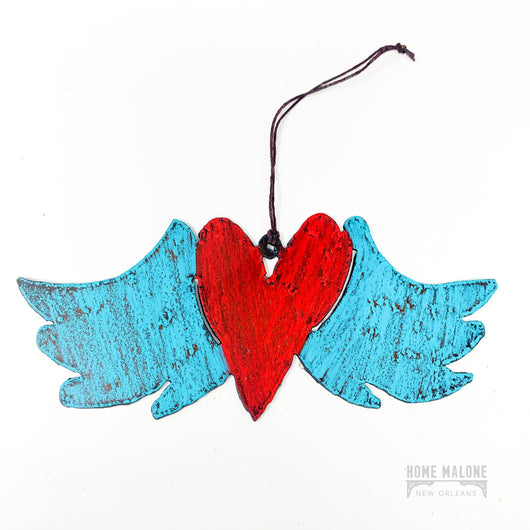 Metal Winged Heart Ornament