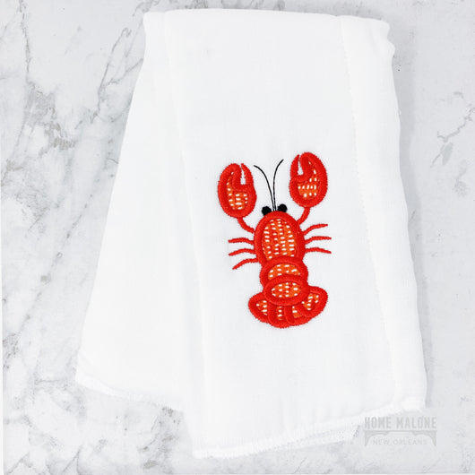 Crawfish Lobster Embroided Burp Cloth For Baby