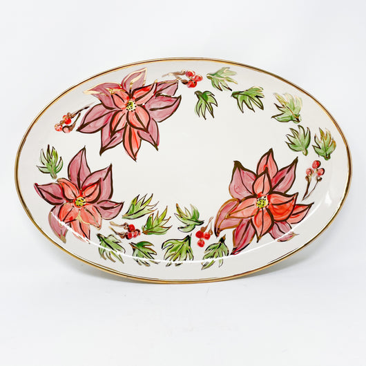 Poinsettia Oval Serving Tray