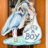 It's A Boy Blue Heron Stork Door Hanger Baby Shower