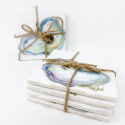 Painted Oyster Coasters: Set Of 4