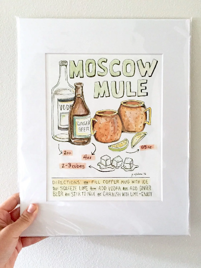 image relating to Moscow Mule Recipe Printable named Moscow Mule Cocktail Print
