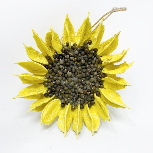 Yellow Sunflower Cotton Boll Ornament