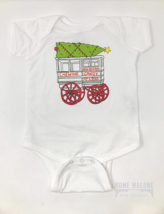 New Orleans Baby Registry, Christmas Onesie, Roman Candy Cart, NOLA Baby