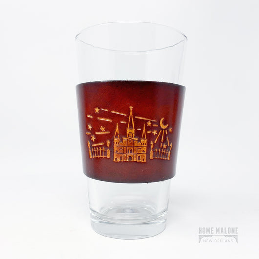 Cathedral Leather Wrap Pint Glass