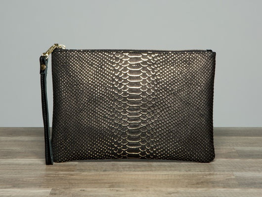 Black & Gold Python Clutch