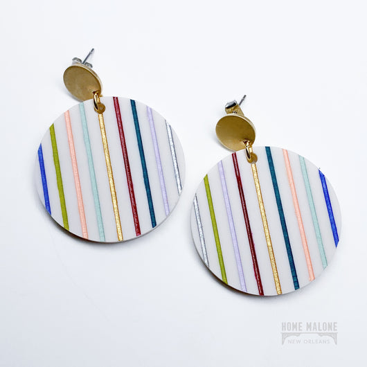 Color Striped Acrylic Earrings