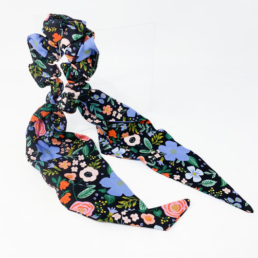 Dark Floral Scrunchie With Tail