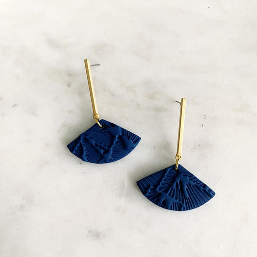 Dark Blue Textured + Brass Earrings